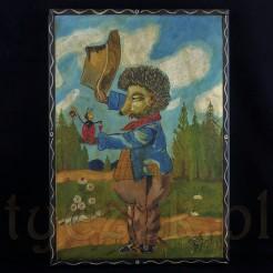 Obraz ujęto w prostą drewnianą ramkę liswową malowaną w kolorze brązowym.