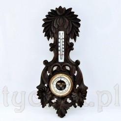 Piękny rzeźbiony barometr z termometrem
