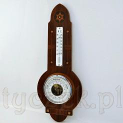 międzywojenny barometr z termometrem