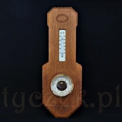 Międzywojenny ścienny barometr z termometrem