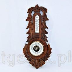Okazały międzywojenny barometr z termometrem