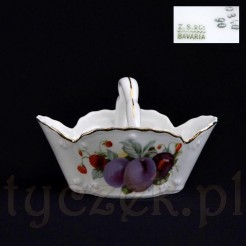 Koszyczek na kandyzowane owoce i bakalie z sygnowanej porcelany bavaria