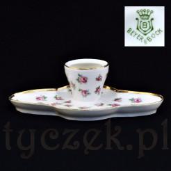 Sygnowany Beyer&Bock kałamarz porcelanowy w róże