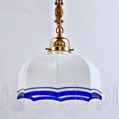 Gustowna biała lampa wisząca z kobaltowym wykończeniem