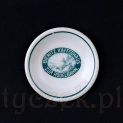 Tor saneczkowy i kawiarnia reklamowały się tak dawno temu na porcelanie