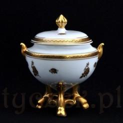 Znakomity porcelanowe puzderko ekskluzywnie złocone