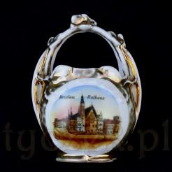 Porcelanowy koszyczek z widokiem wrocławskiego ratusza