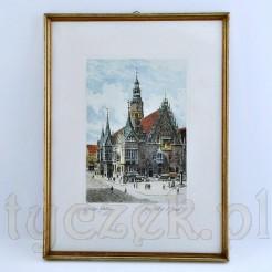 Akwaforta z widokiem na wrocławski ratusz autorstwa Albrecht Brucka