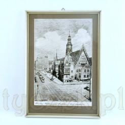 Klasyczna grafika z widokiem pięknego, zabytkowego rynku we Wrocławiu