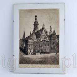 Breslau Rathaus wyjątkowa grafika zabytkowa z Ratuszem stary Wrocław