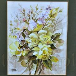 Bukiet z jasnożółtych róż i orlika (Aquilegia)