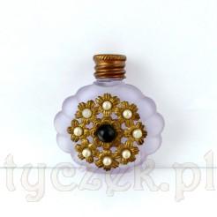 Stylowa buteleczka do perfum: szkło z mosiężną aplikacją ozdobną