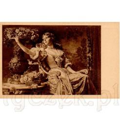 Dama w atłasowej sukni siedząca w fotelu sięgająca po kwiat z dużej ozdobnej wazy zdobi obraz W. Cezachóskiego