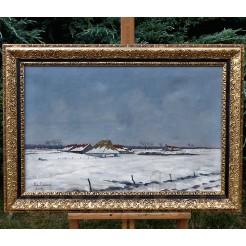 Wspaniały pejzaż zimowy malowany farbami olejnymi na płótnie.
