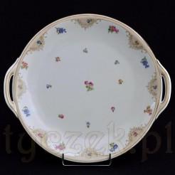Kremowa porcelana zdobiona w drobne kwiaty - patera