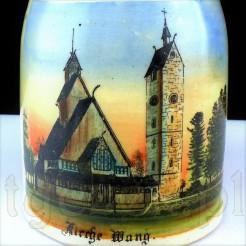 Piękny widok świątyni wang na zabytkowym kuflu ceramicznym