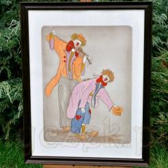 Oryginalne, radosne przedstawienie dwóch ulicznych artystów wykonane w technice litografii podkolorowanej intensywnymi, miejscami neonowymi barwami