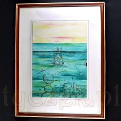 Szkic wykonany tuszem został pokolorowany intensywnymi barwami w zbliżonych tonacjach.