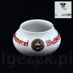 Śląskiej marki Ct porcelanka z reklamą dawnego browaru