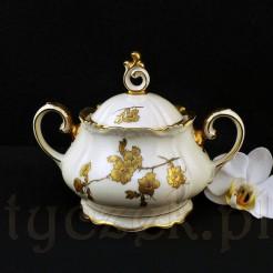 Okazała, zabytkowa porcelanowa cukiernica ECRU w złocie