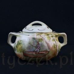 Porcelanowa cukiernica ze scenką rodzajową