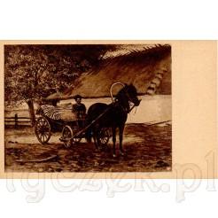 Dzieło Stanisława Masłowskiego przedstawiające dawny zaprzęg ciągnący wóz z sianem umieszczono na karcie pocztowej
