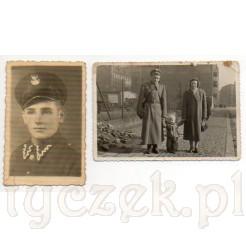 Dwie fotografie polskiego żołnierza- zdjęcie portretowe oraz zdjęcie pamiątkowe z żoną i dzieckiem