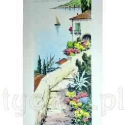 Widok na śródziemnomorskie miasteczko portowe.