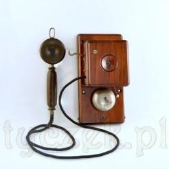 Mahoniowy aparat domofonowy z I połowy XX wieku