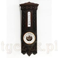 Ścienna stacja pogody: zabytkowy termometr rtęciowy wraz z barometrem