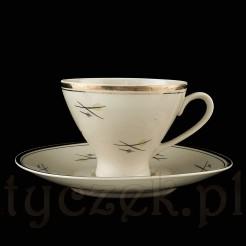 Kawowe duo z porcelitu barwy ecru z chodzieskich Zakładów Porcelany i Porcelitu.