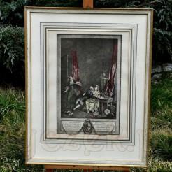 Francuska litografia ze scenką w typie fête galante o humorystycznym wydźwięku
