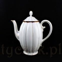 Elegancki dzbanek kawowy posiada okazały fason oraz pulchny brzusiec