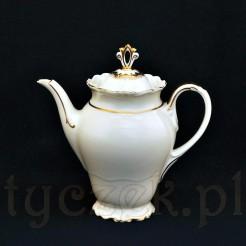 Szlachetna porcelana ecru z finezyjnym złoceniem