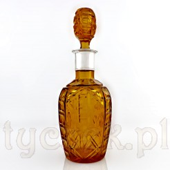 Luksusowa karafka ze szkła barwionego w masie na kolor bursztynowy