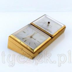 Stylowy zegar z budzikiem i barometrem na biurko rpezesa