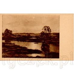 Wieczorny krajobraz nad rzeką ujęty na obrazie Stanisława Popowskiego pt. Wieczór