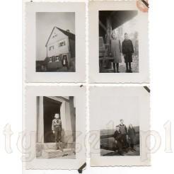 Budynek mieszkalny oraz pozujące dzieci: chłopiec i dziewczynka na czarno białych zdjęciach z białą ramką
