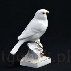 Figurka siedzącego ptaka z porcelany kolekcjonerskiej
