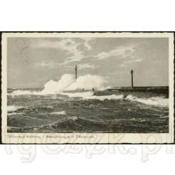 Widok kartki pocztowej przedstawiającej wzburzone morze w Kołobrzegu.