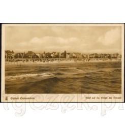 Widok kartki pocztowej przedstawiającej plażę w Świnoujściu