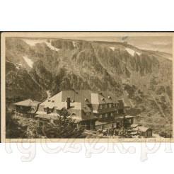 Widok kartki pocztowej przedstawiającej Karkonosze