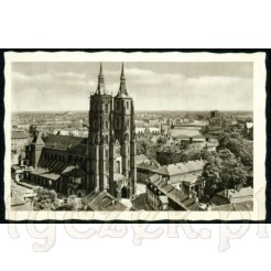 Widok kartki pocztowej przedstawiającej Ostrów Tumski we Wrocławiu