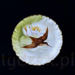 Luksusowy talerz z ręcznie malowanym ptakiem