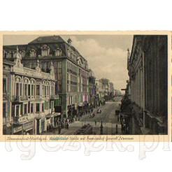 Dzisiejsza ulica Piotrkowska ujęta na dawnej pocztówce