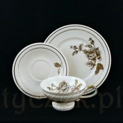 Ekskluzywne trio śniadaniowe wykonane z żarskiej porcelany w kolorze ecru