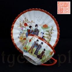 Rzadka filiżanka ze spodkiem z markowej porcelany dekorowanej japońskim wzorem