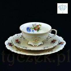 Piękne trio z ekskluzywnej porcelany kremowej