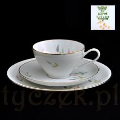 Ciekawa porcelanowa filiżanka z talerzykami marki KPM Krister