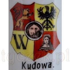 malowany herb Breslau i napis KUDOWA